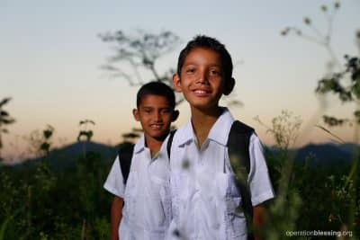 Brothers Marlon, 12, and Cristian, 11, are excited to have a new school to learn in.