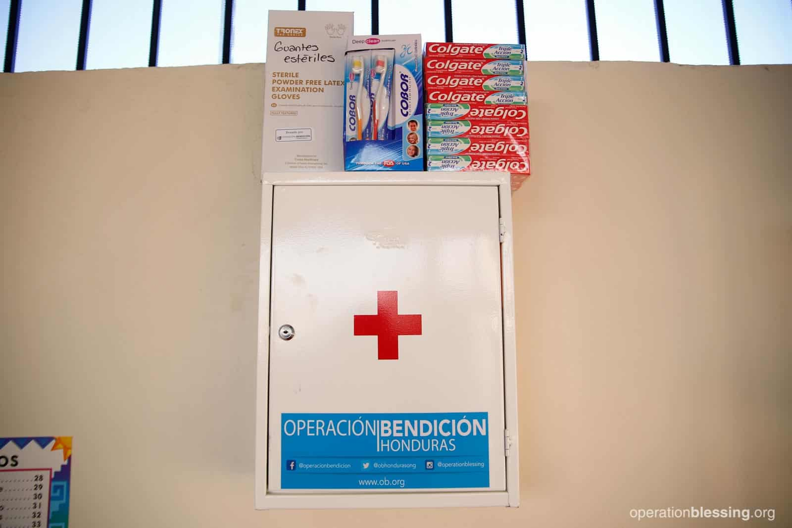 A new medical kit sits readily available on a wall at the school in Honduras.