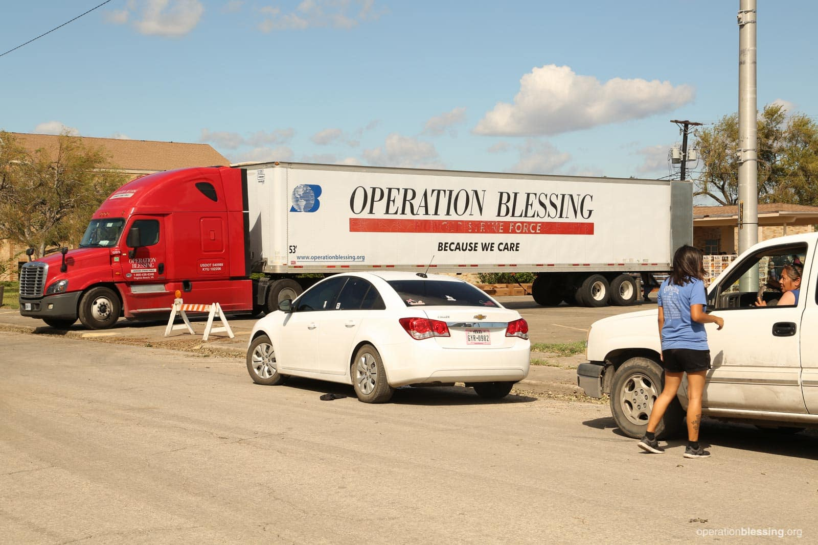 An OBI semi-truck delivers emergency relief supplies in Texas.