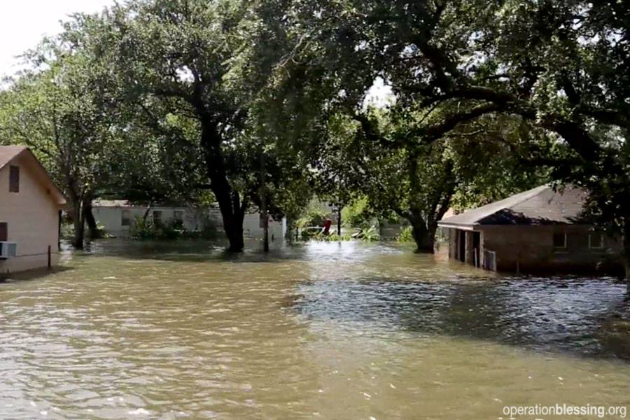 A flooded neighborhood after Hurricane Harvey. Texas is still in dire need of volunteer help following the historic storm.
