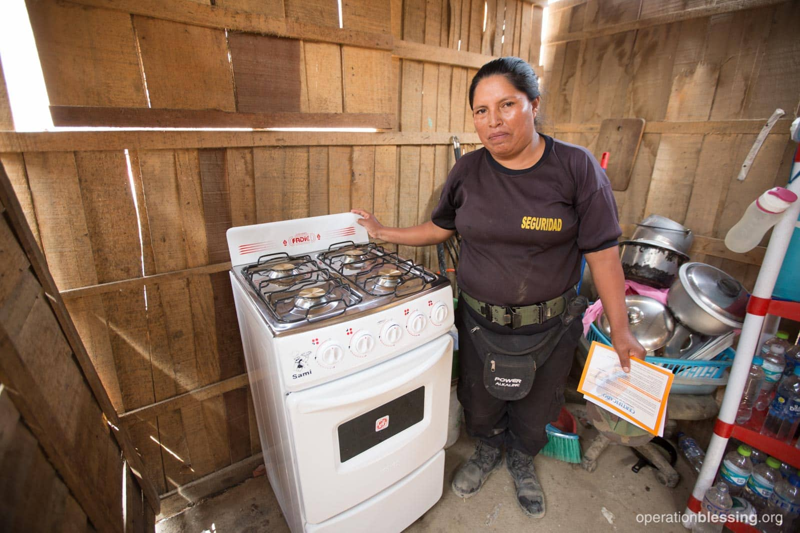 Catalina's new stove from Operation Blessing.