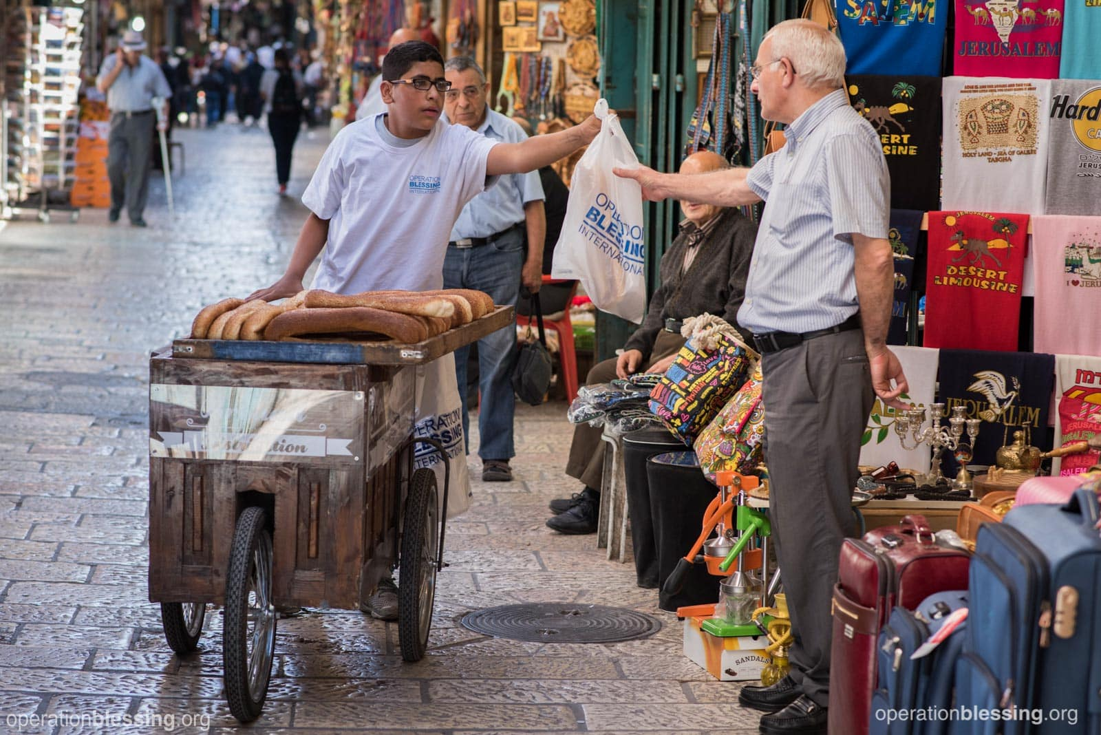 An Operation Blessing program delivers bread to the hungry in the Old City of Jerusalem.