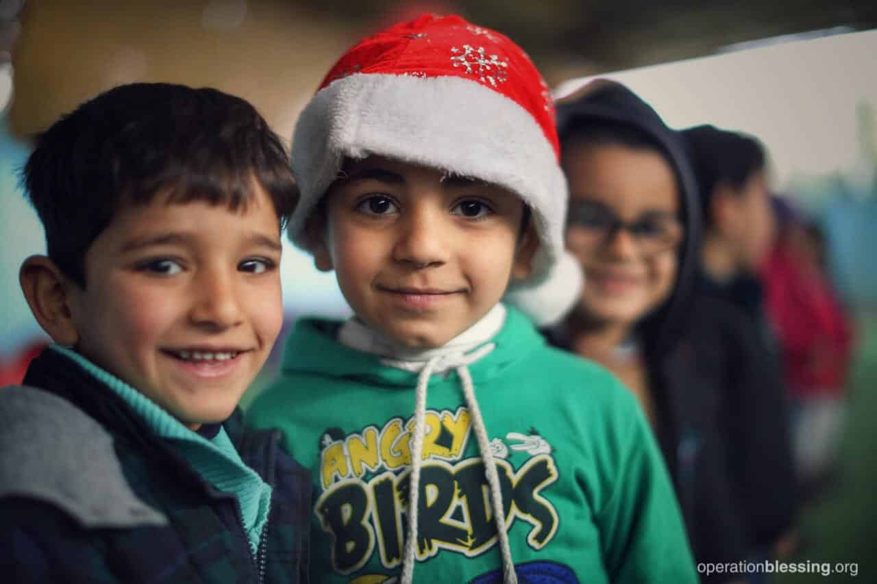 2017 DECEMBER: Displaced Christian families who escaped persecution gather in Jordan to celebrate Christmas. Many of these refugees have received food, school supplies, life-skills training, and more!