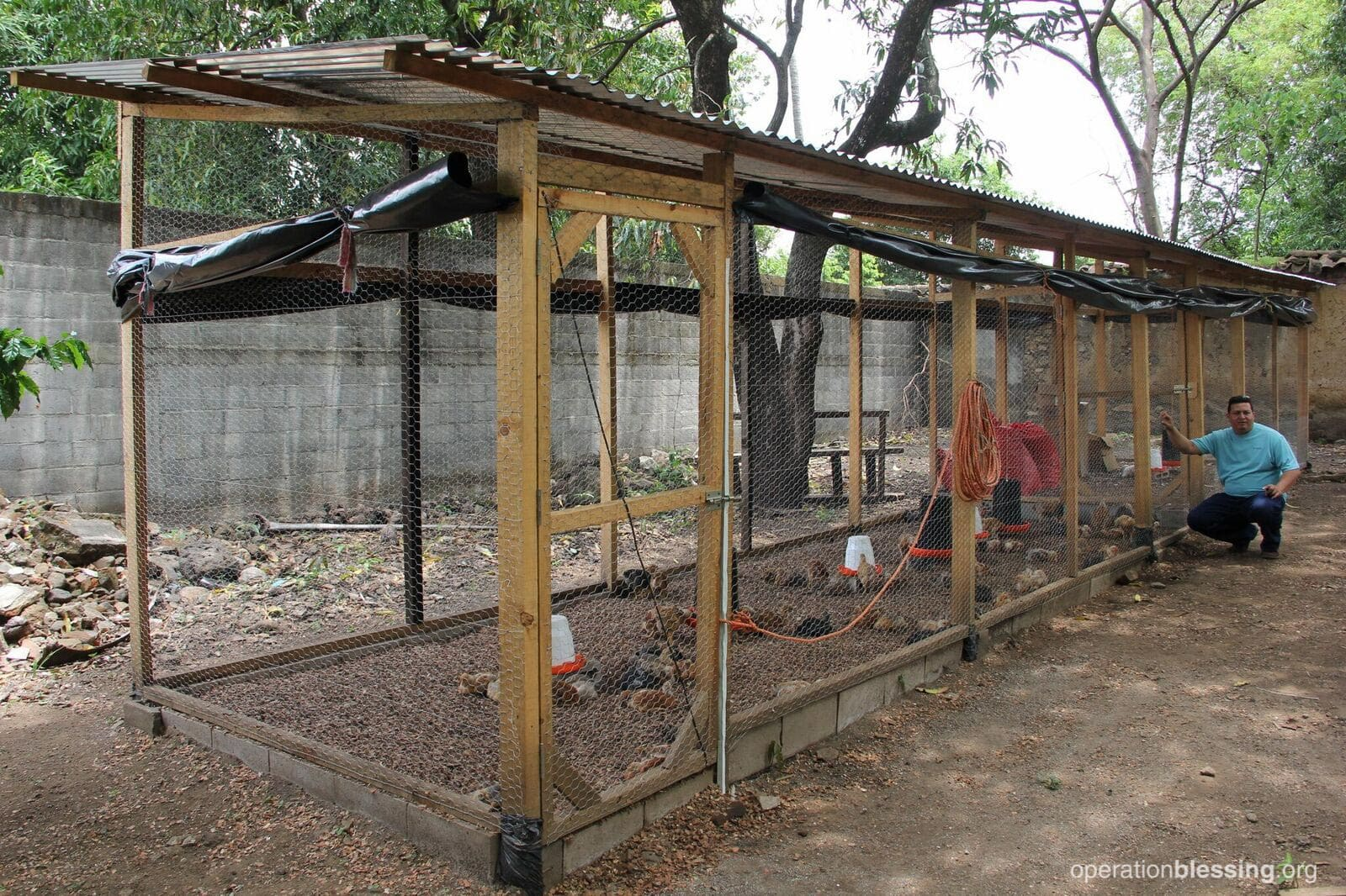 The new chicken coop that Operation Blessing built for Santos.