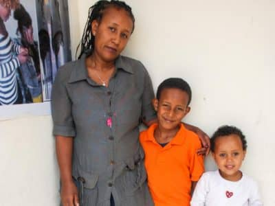 Fayiza and her two children are no longer begging on the streets thanks to Embracing Hope Ethiopia and Operation Blessing .