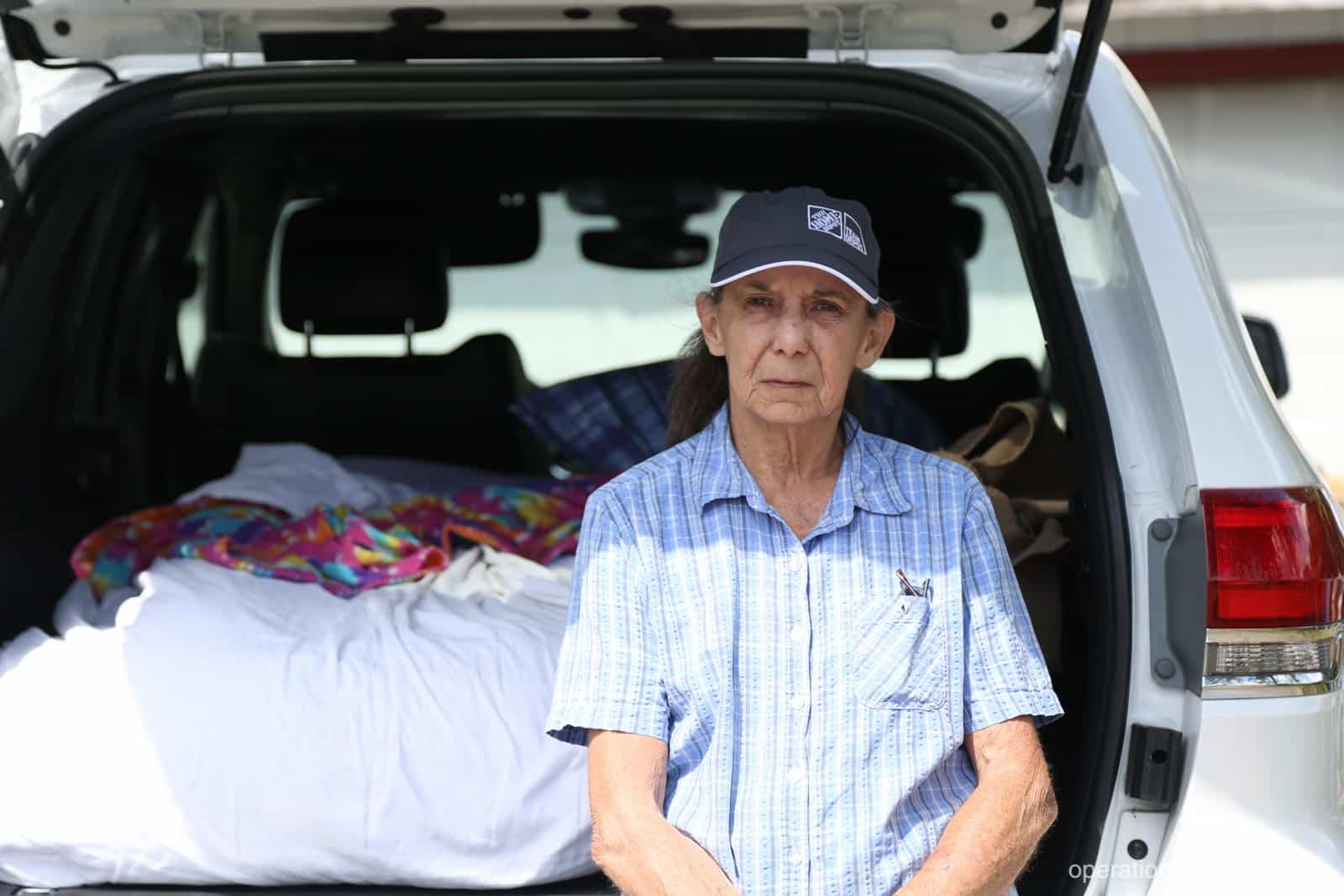With nowhere to go, Priscilla slept on an air mattress in a rented Jeep in her driveway.