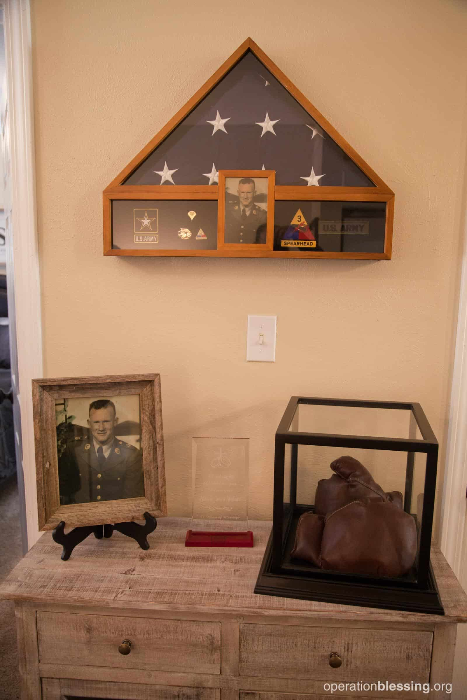 OBI and The Home Depot included some of Allen's army memorabilia into his home makeover.