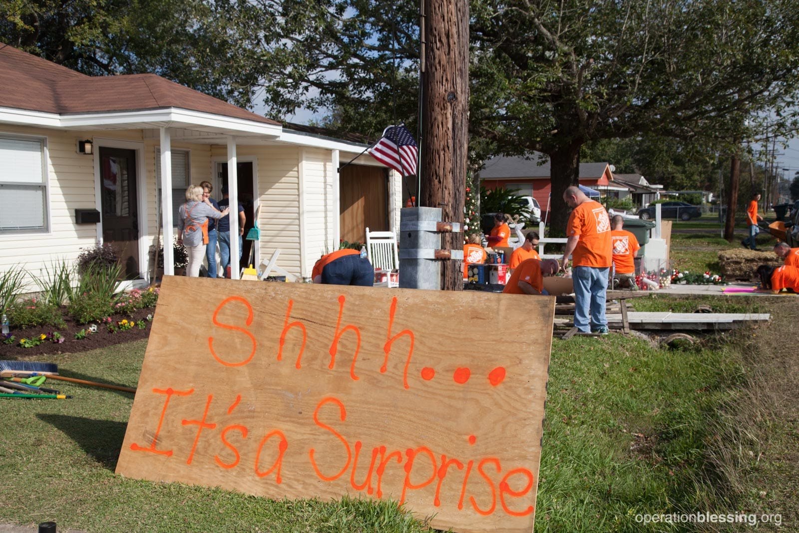 "As the sign says, ""Shh…it's a surprise."" OBI and Home Depot tried to keep things hush, hush during the makeover."