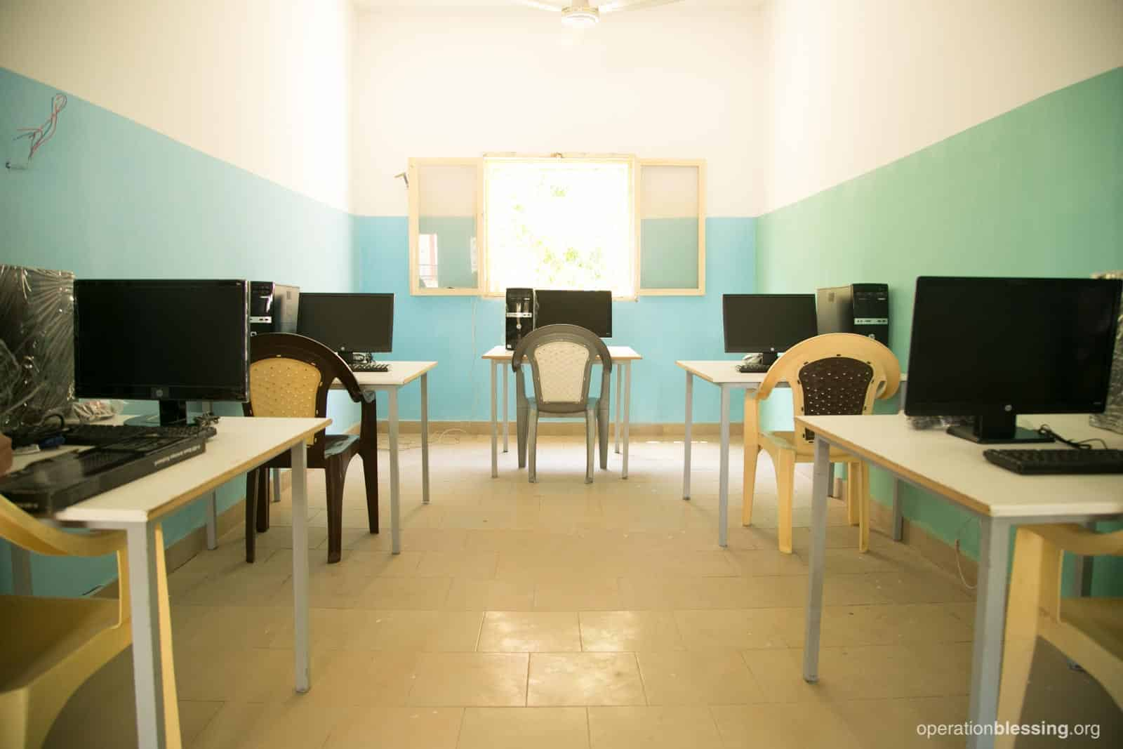 A classroom in Senegal filled with new computers from Operation Blessing partners.