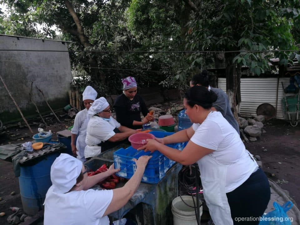 Disaster relief kitchen workers.