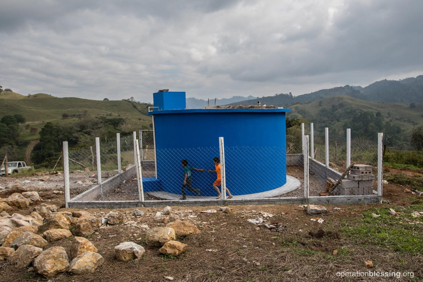 A water tank installed by Operation Blessing in Maylee's village.