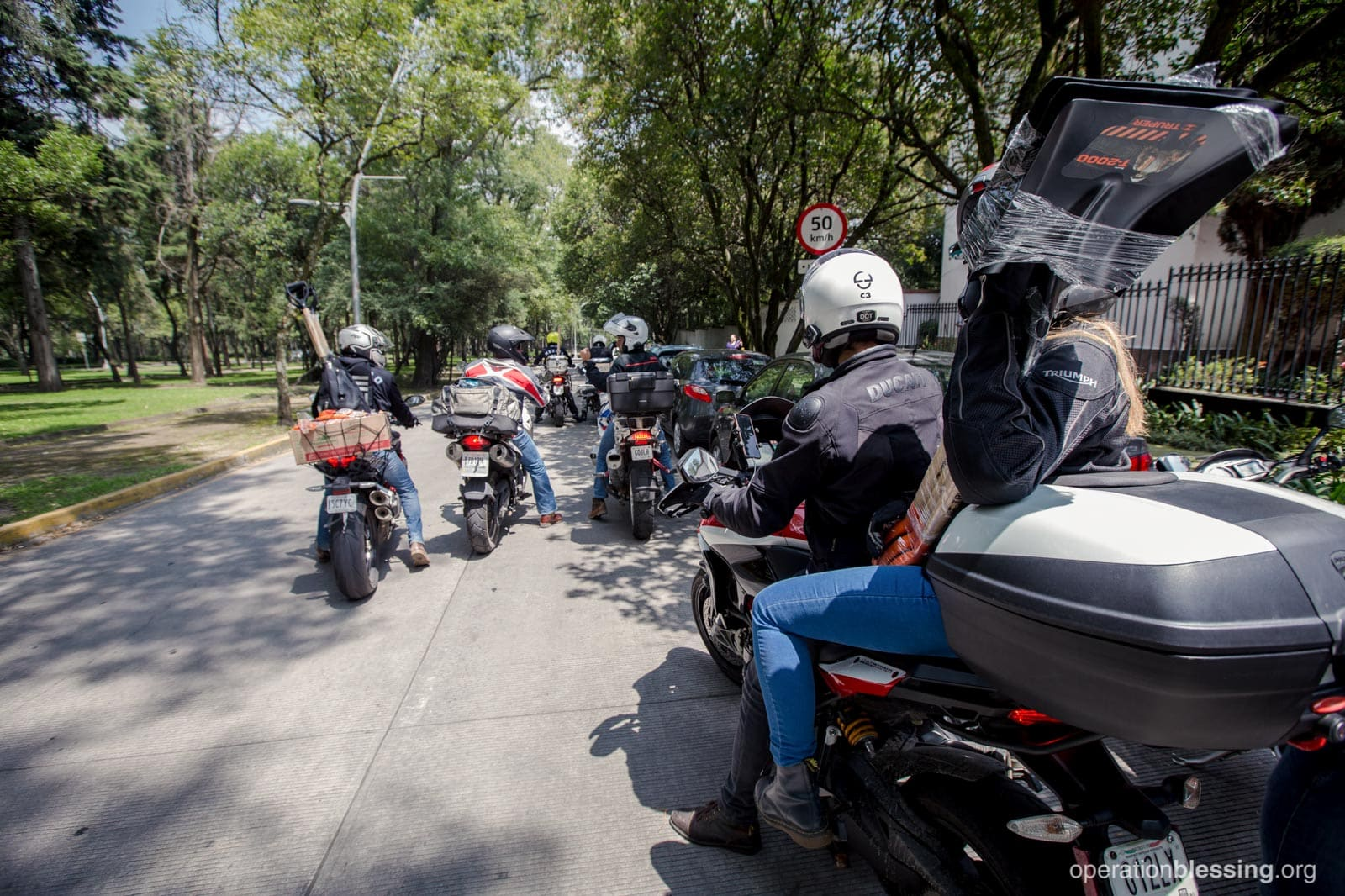 Motorcyles deliver aid in Mexico after an earthquake.