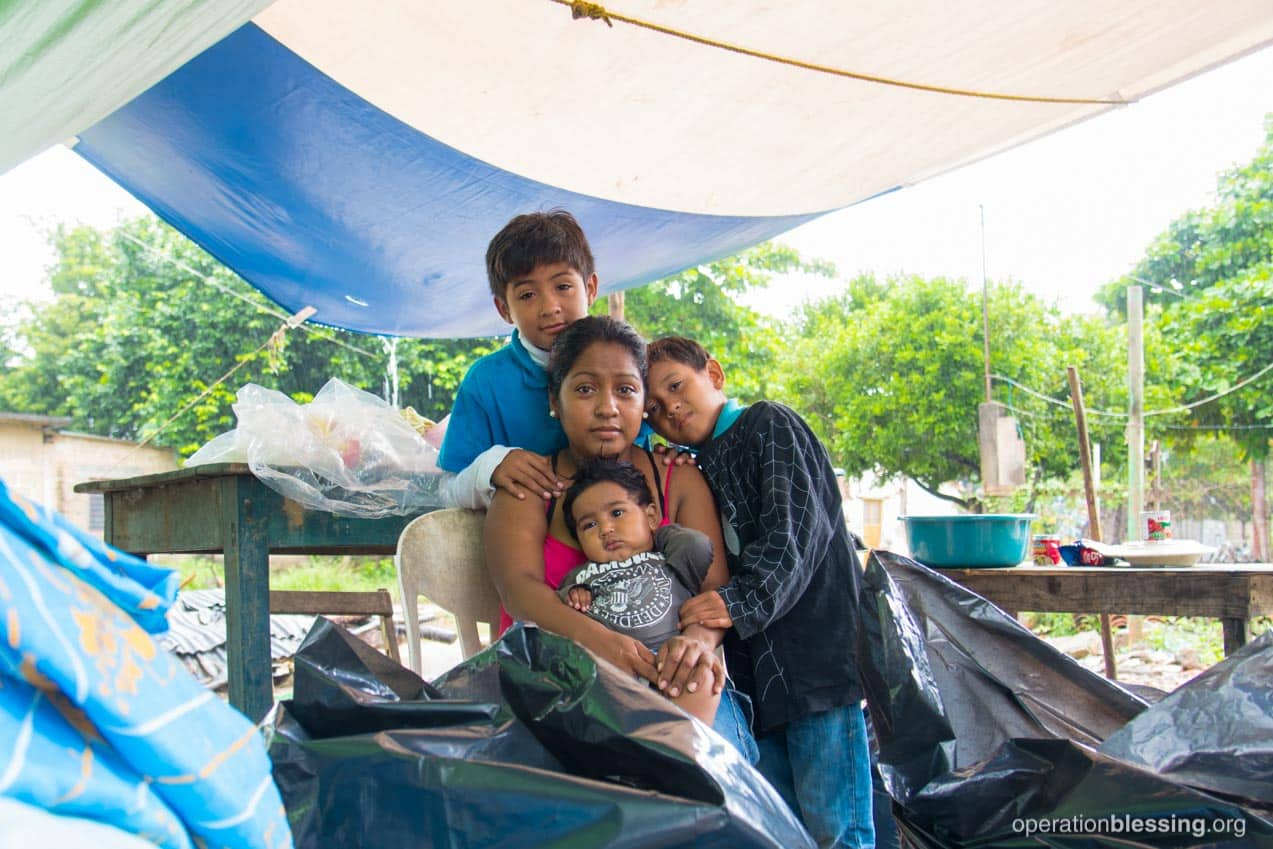 Luzbeth and her family find shelter after their home was shaken and destroyed.