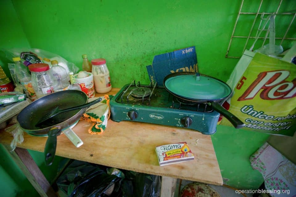 After the earthquake Roxana tried to keep her bakery business going with old, borrowed supplies.
