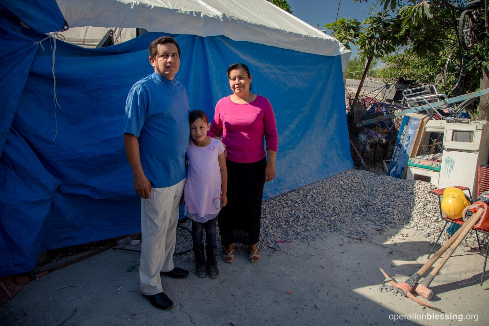 Pastor Rafael and his family lived in this tent after an earthquake destroyed their home in Mexico.