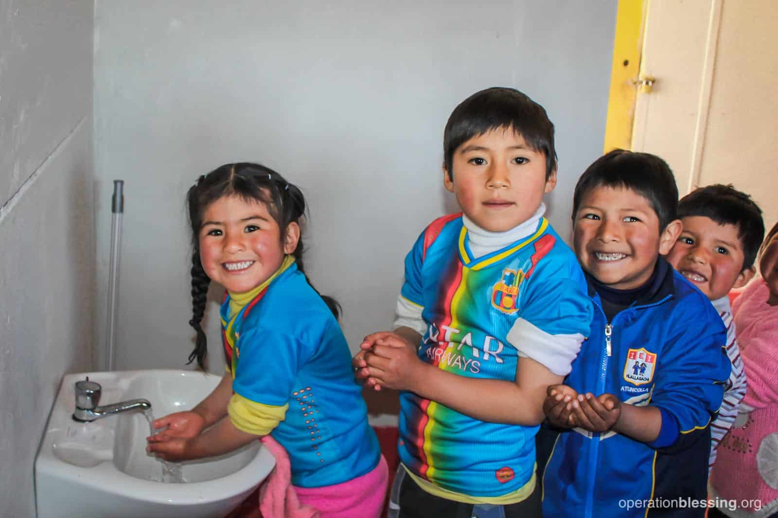 A hand-washing station for the children at Nicol's preschool in Peru.
