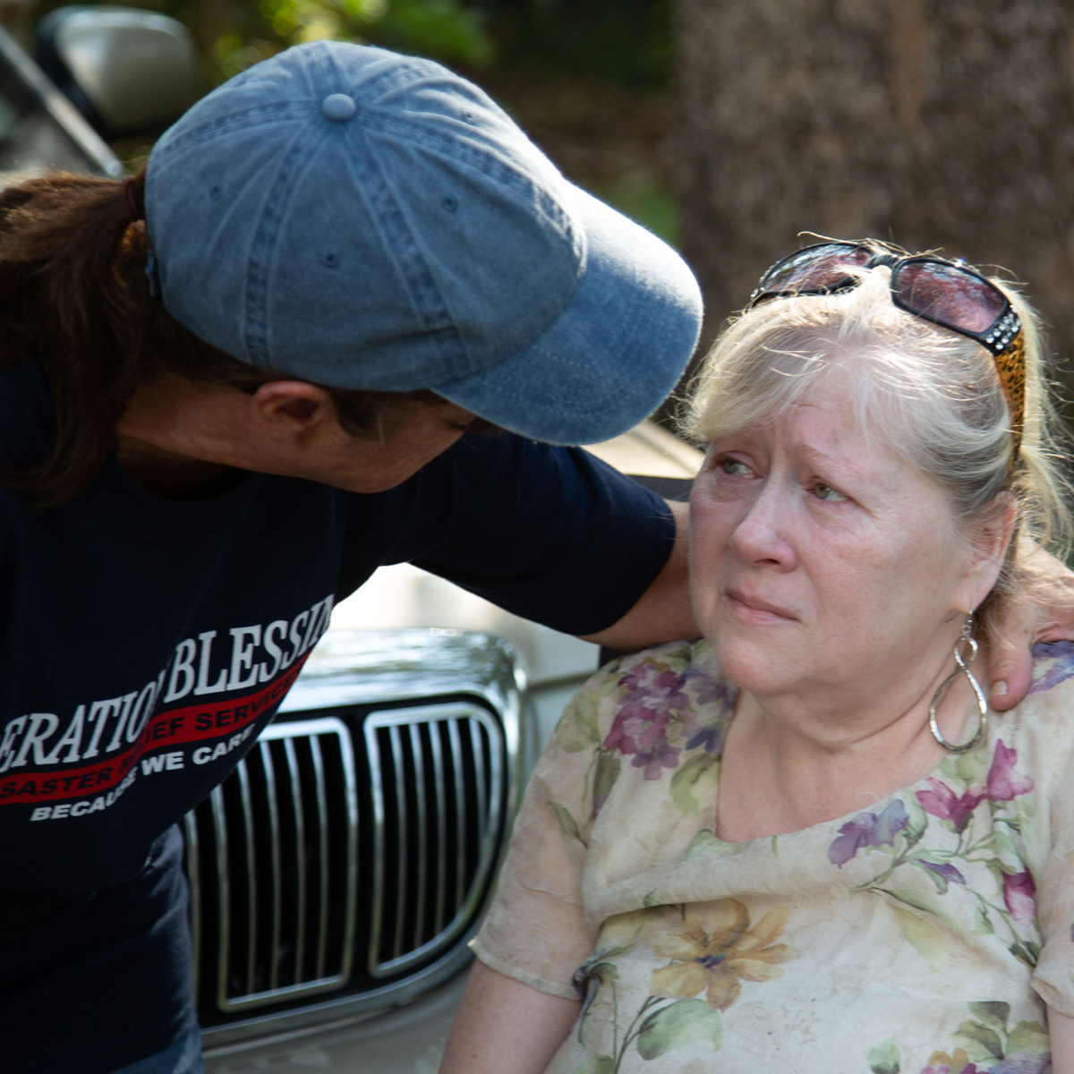 Offering comfort to a disaster victim in North Carolina.