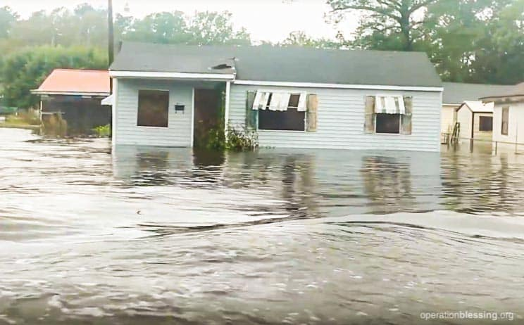 Flooded homes and streets in North Carolina from Hurricane Florence.