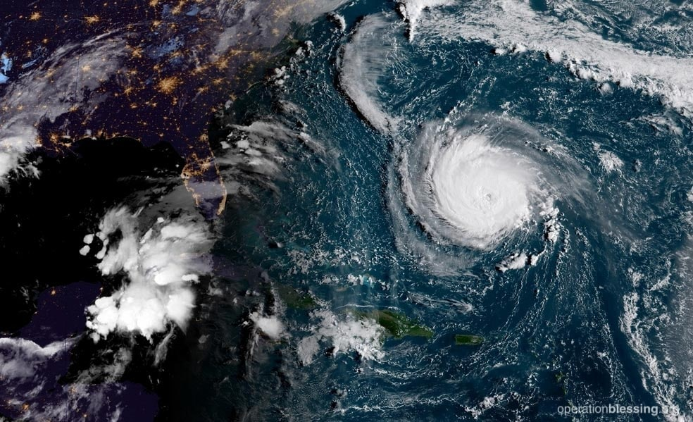Hurricane Florence as seen from the sky as it approaches the East Coast.