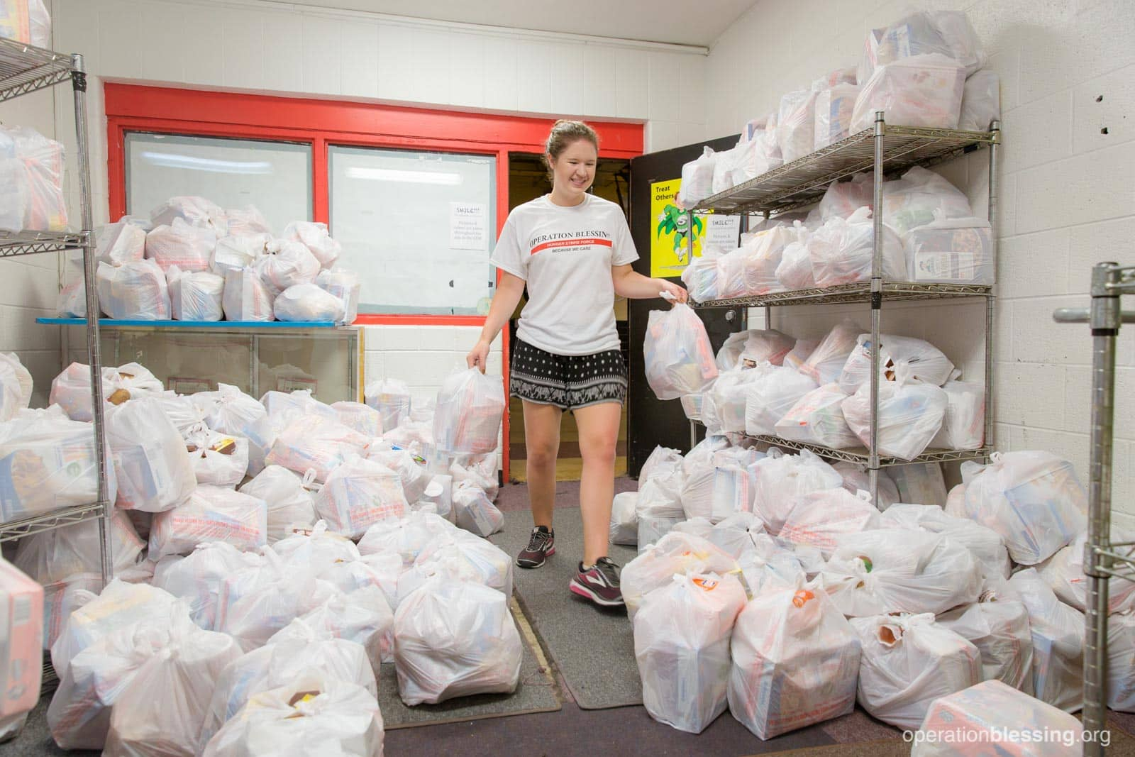 A volunteer organizes bags of groceries for Project Lunchbox.