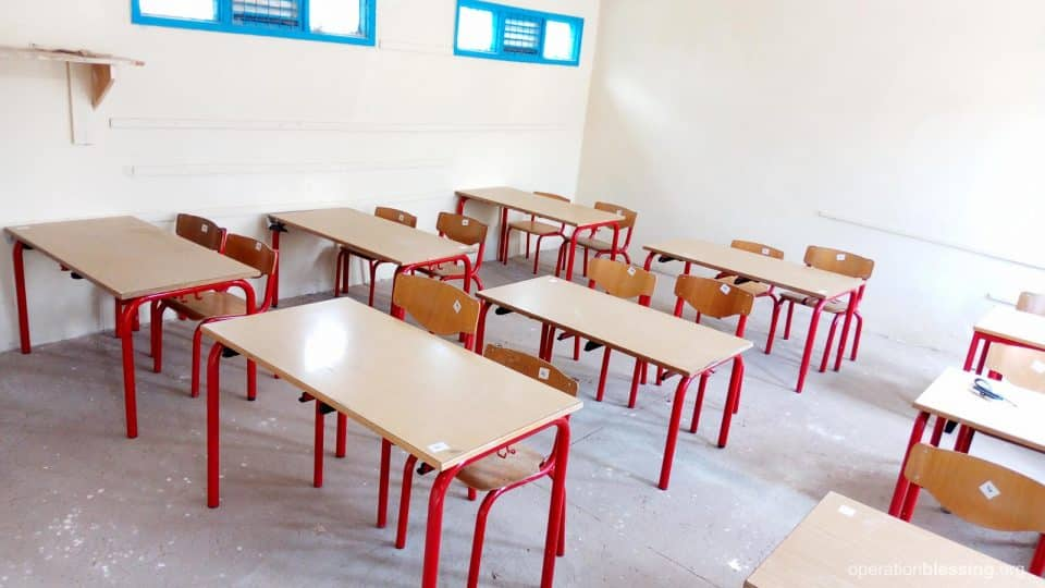 New tables at the special needs school.