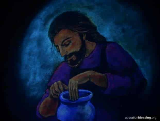 The invisible painting of Jesus and the new vessel in black light.