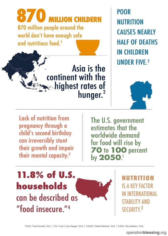An infographic about worldwide hunger statistics.