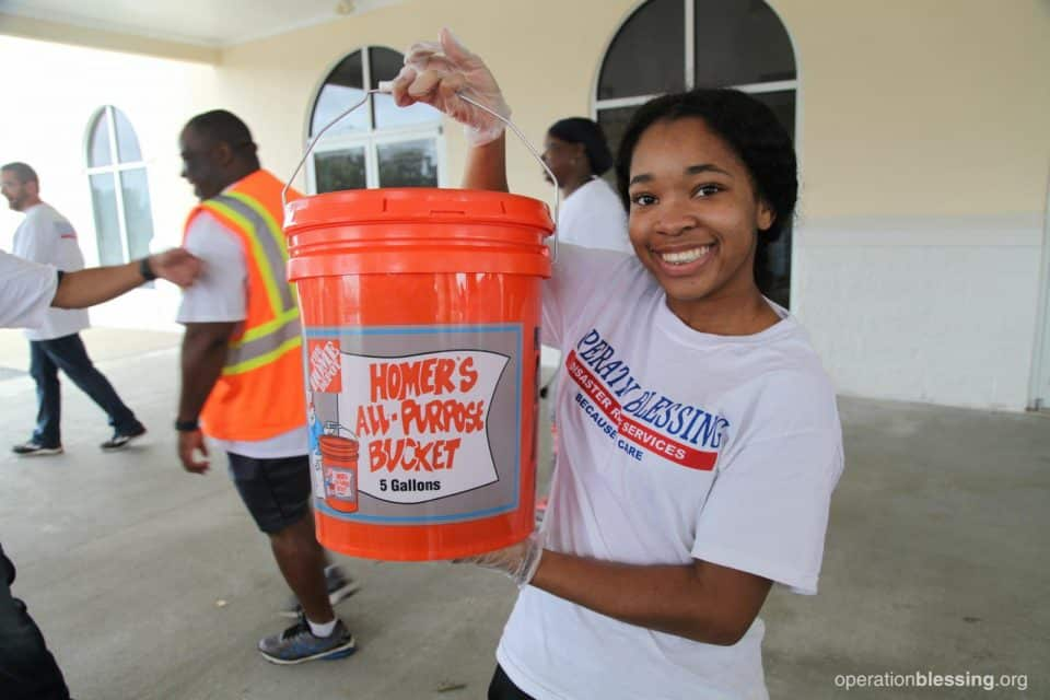 Home depot flood buckets for hurricane victims in North Carolina.