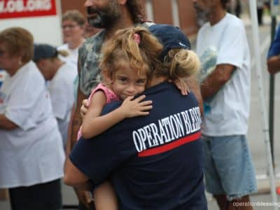 Offering a hug to hurricane victims after Florence in North Carolina.