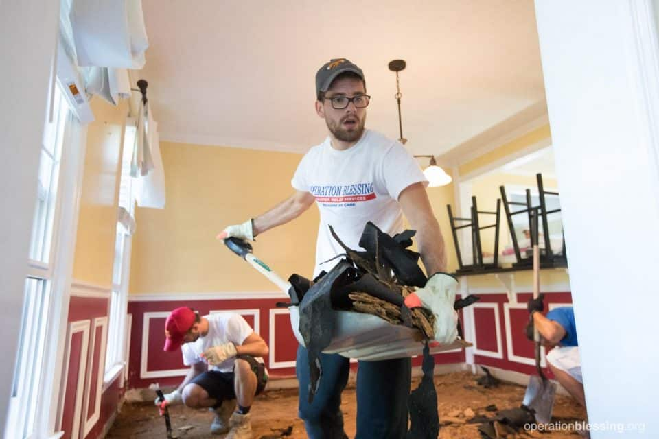 volunteer helping with home recovery.