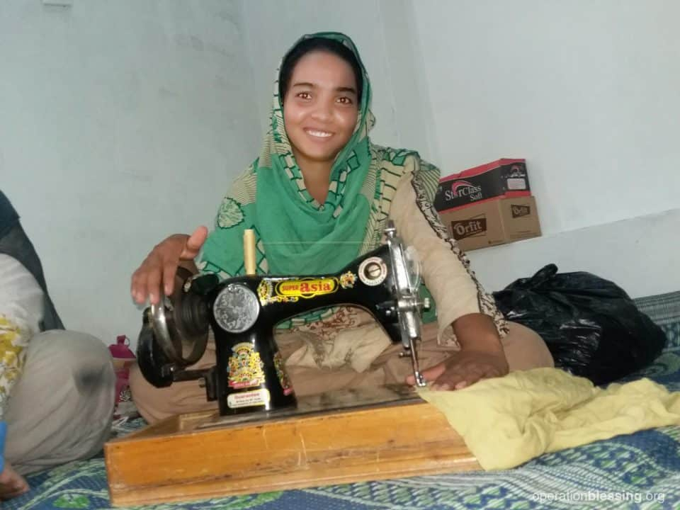 Sana is out of the brick factory now that she has a sewing opportunity from Operation Blessing's CAS training.