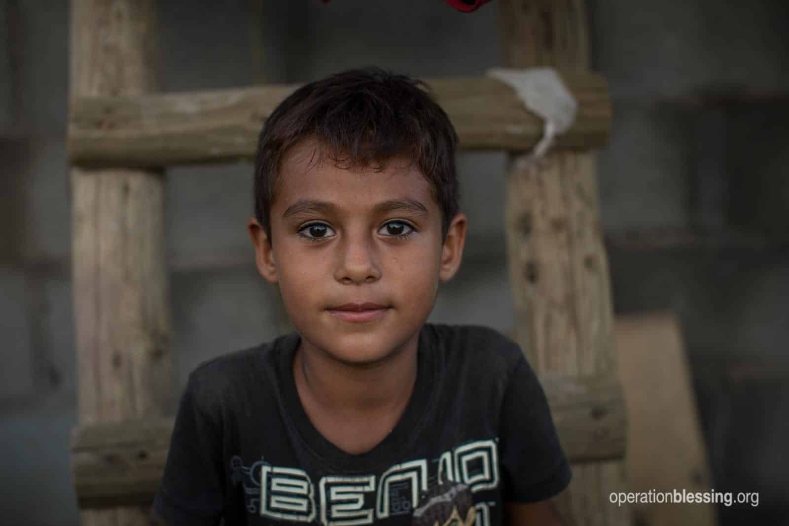 This boy was affected by floods in Mexico.