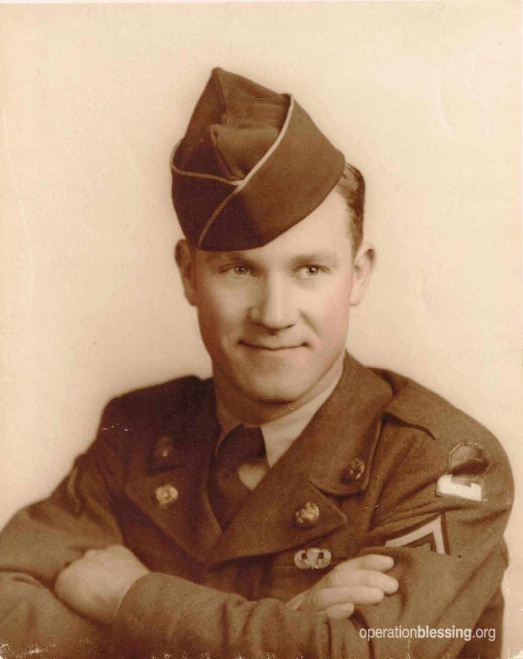Disaster relief volunteer Marton when he served in the Korean War.