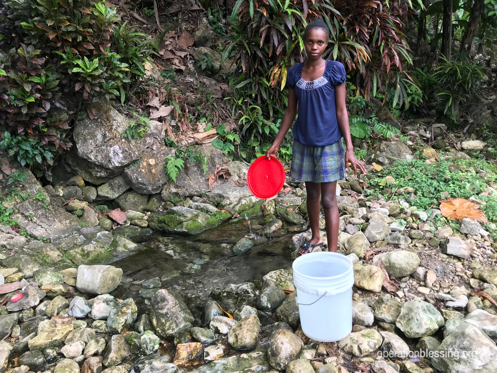 A Haitian village woman collects unsafe water to drink.