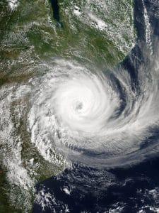 Cyclone Idai slamming into southern Africa.