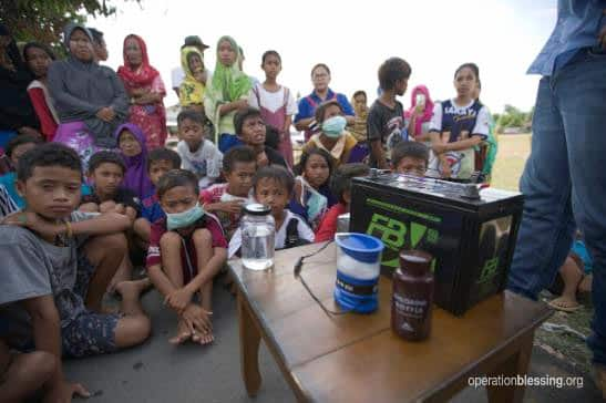 Delivering safe drinking water to disaster victims in Indonesia.