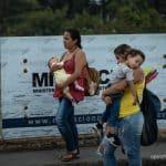 Two mothers with babies fleeing the Venezuela humanitarian crisis.