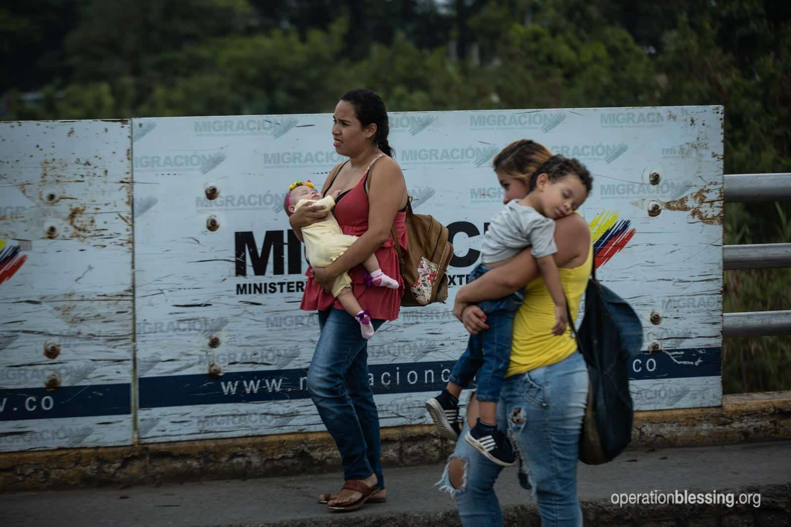 Two mothers with babies fleeing the Venezuela humanitarian crisis.
