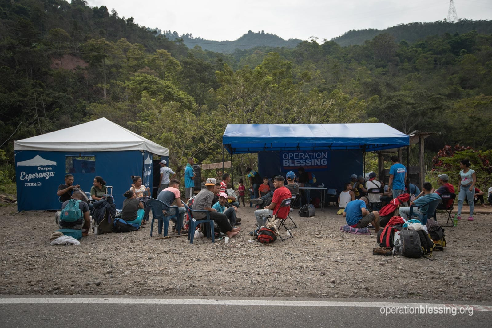 An Operation Blessing medical station to help Venezuelan refugees along the road in Colombia.