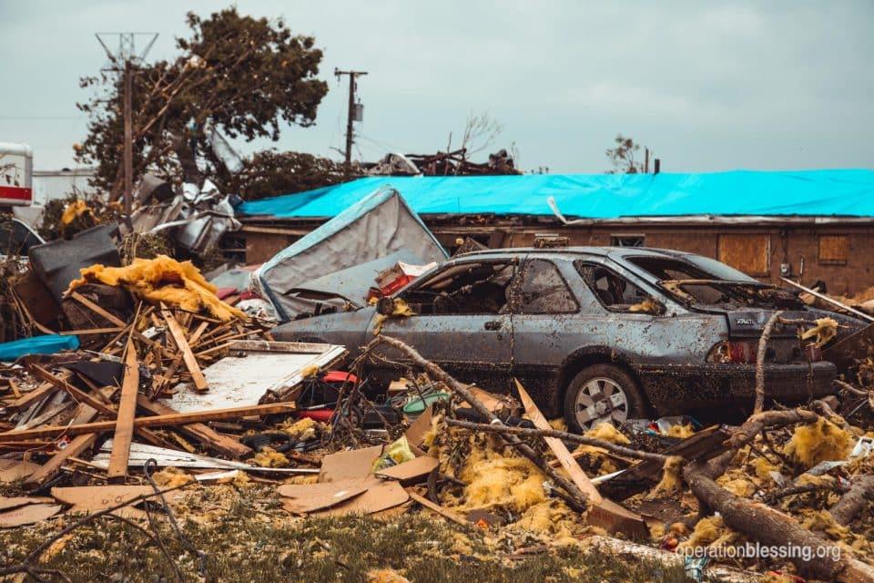 Damage from tornado in Dayton, Ohio.