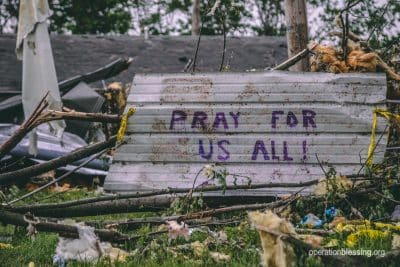 A sign in the rubble of the Dayton Tornado saying,