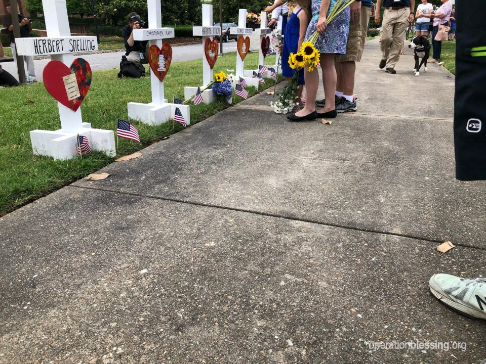 A memorial to the victims of the Virginia Beach shooting.