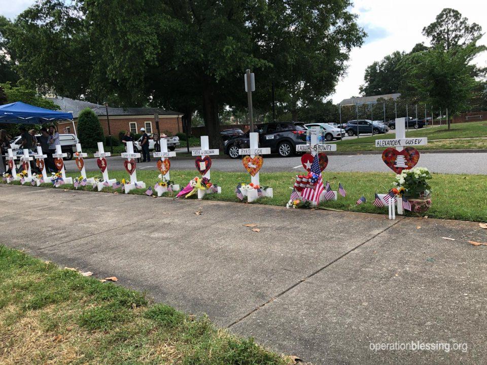 Memorial crosses at the Virginia Beach municipal center after Virginia Beach shooting.