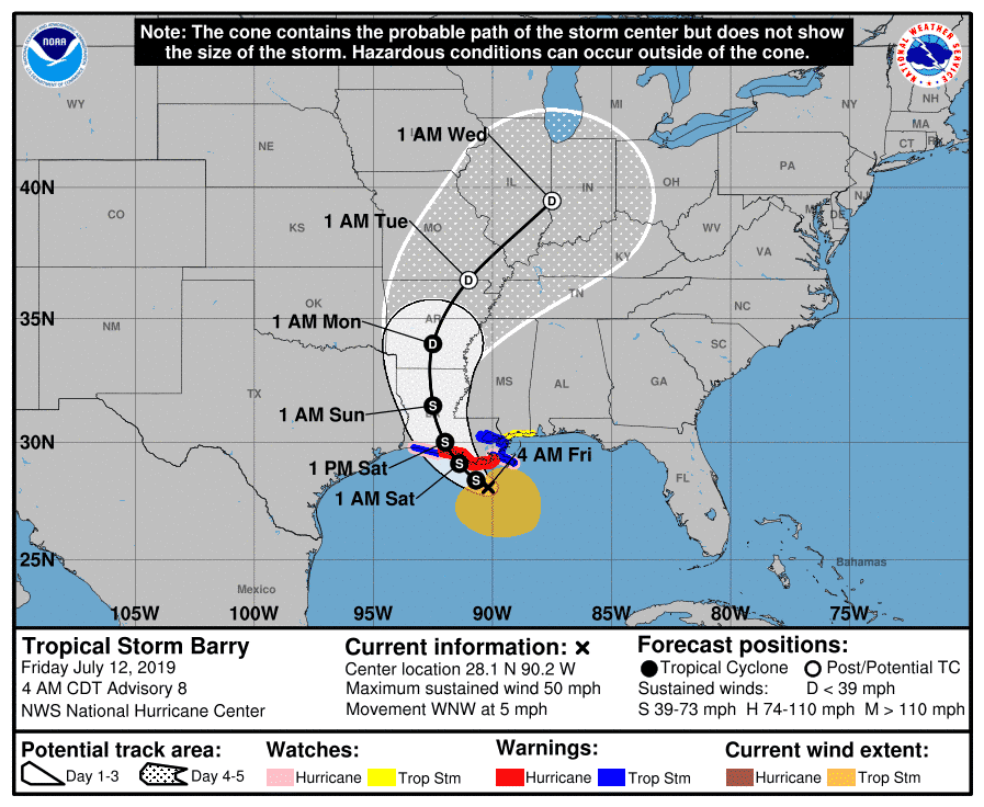 Projected path of Tropical Storm Barry.