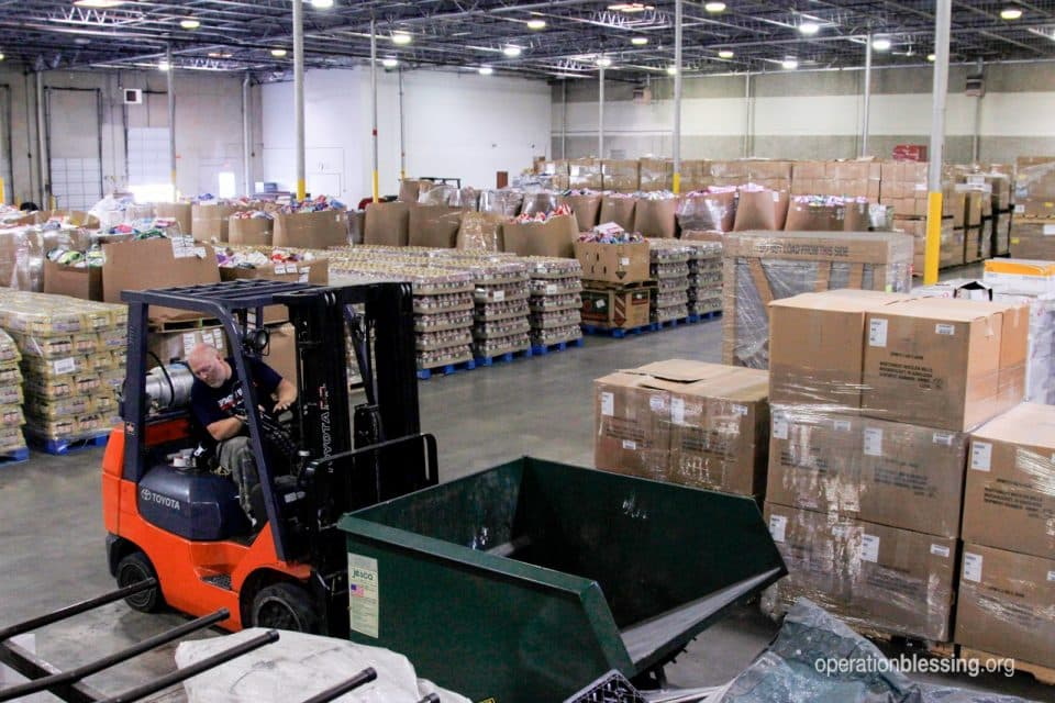Operation Blessing prestages for Hurricane Dorian in our warehouse.