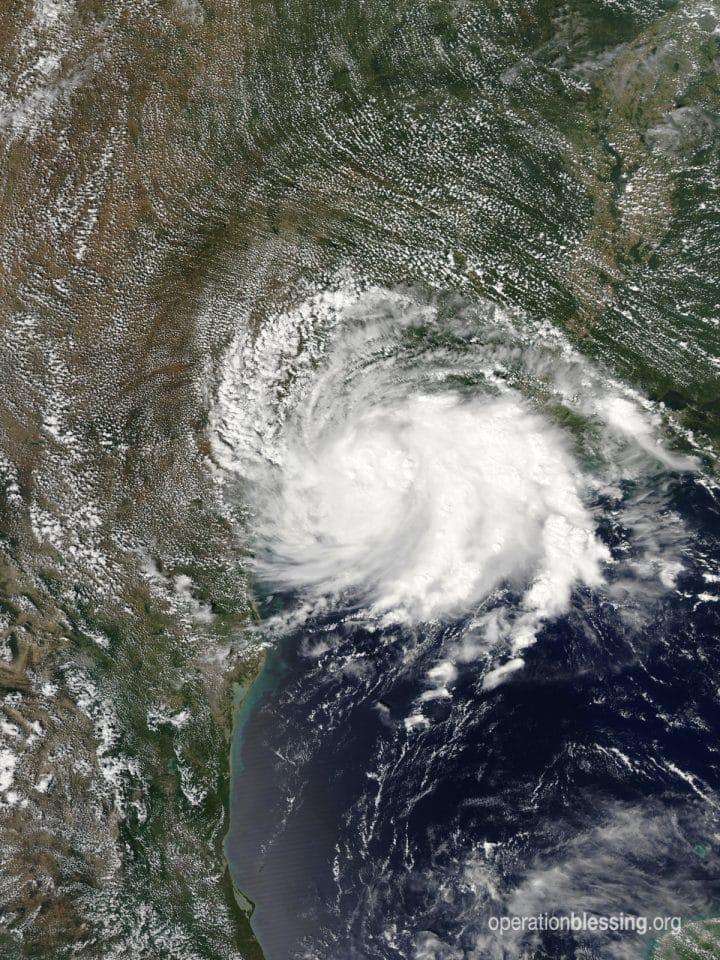 Tropical Storm Imelda over Texas where it caused severe flooding. Operation Blessing is sending relief.