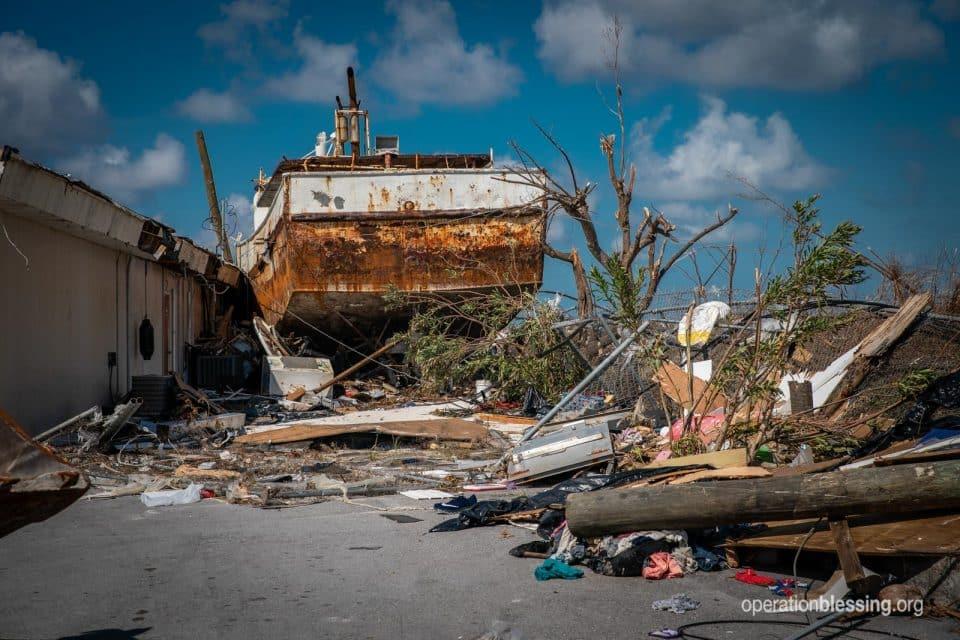 Storm damage from Hurricane Dorian.