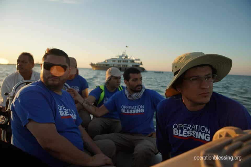 Operation Blessing disaster relief staff travel by small boats to the Abaco Islands after Hurricane Dorian.