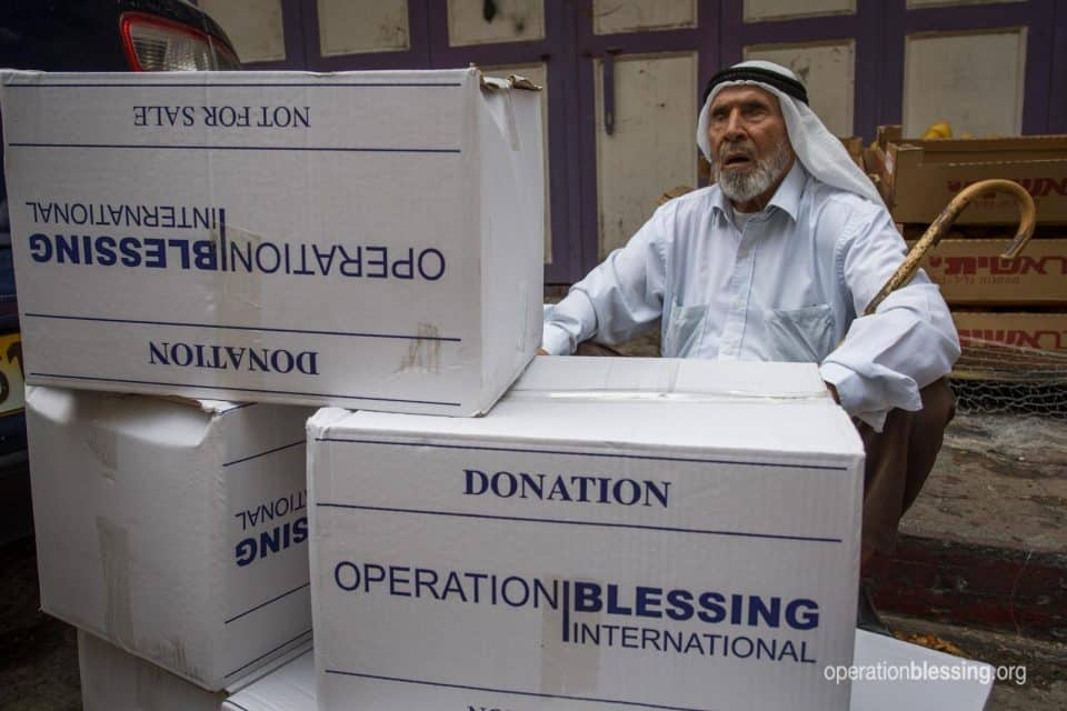 Boxes of food for the Arab blind association