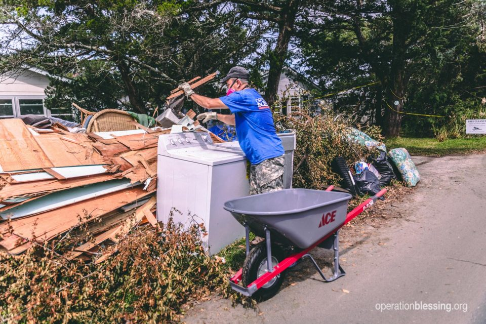 Operation Blessing volunteer helps with recovery on Ocracoke Island.